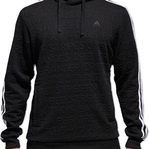 Adidas Black Typography Three Striped Logo Hoodie